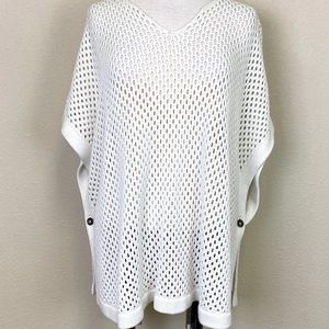 TALBOTS White Open Knit Sweater Poncho w/ Buttons